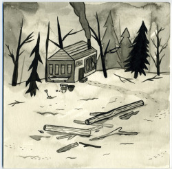 LMH / Cabin II / Ink on mat board / 2012