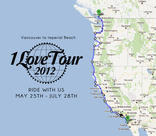 BikeBot Presents: The 1Love Tour 2012  Description:  A bike empowerment tour which will kick off in Vancouver and spend 2 glorious months pedaling beach side ending this wild party in Imperial Beach Cali.  We are riding to aid in BikeBot's overall mission: to encourage growth in our nation's bicycle communities.   The 1Love tour is different from other tours for several reasons:   -Traveling shorter day to day distances (30-50 miles) so that we have plenty of time to explore and connect with the cities we visit  -Little to no lodging in hotels as we are going to try to ride the couch surfing wave and do some camping  ****BIG ASS PARTIES (We will explain later)   Who can go? This ride is open to anyone at all levels.  We will be encouraging locals to ride from their town to our next stop to make our presence on the road and in these communities more impacting.   ****RIDE AT YOUR OWN RISK****  Trip Distance: Around 1,800 miles   Next Information Session will be Saturday the 28th at 9am at Austin Java on 12th and Lamar.