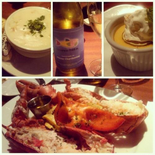 DineLA with Nim! Mmmm Lobster, chowda, Chardonnay, and Key Lime Pie! (Taken with Instagram at Enterprise Fish Company)