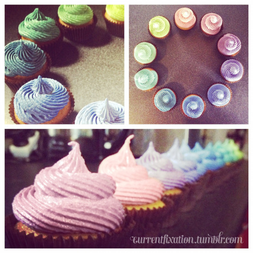 My current fixation has shifted to cupcakes. Turns out the name of this tumblr was a good choice.  Rainbow lemon cupcakes filled with lemon curd and frosted with vanilla bean buttercream.