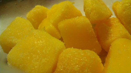 Frozen mangoes from Trader Joe's! My new favorite study snack!   Mangoes are super healthy: Sweet but low in calories, rich in fiber, a rainbow of vitamins and minerals like vitamin c and iron, can help with digestion, and so much more!  Normally I would be craving some jalapeno chips the day before an exam… but these are so much better for me, and I won't feel crappy like I usually do after eating the chips! And they are deeeeelish. :)