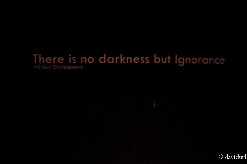 Day 20 January 20, 2012. Friday There is no darkness but Ignorance- William Shakespeare. Went to O.noir to try a very interesting way of eating, this is the restaurant where you eat in the dark, it is pitch black inside and you won't be able to see anything. It's as if you're blind. It was a very fun experience.