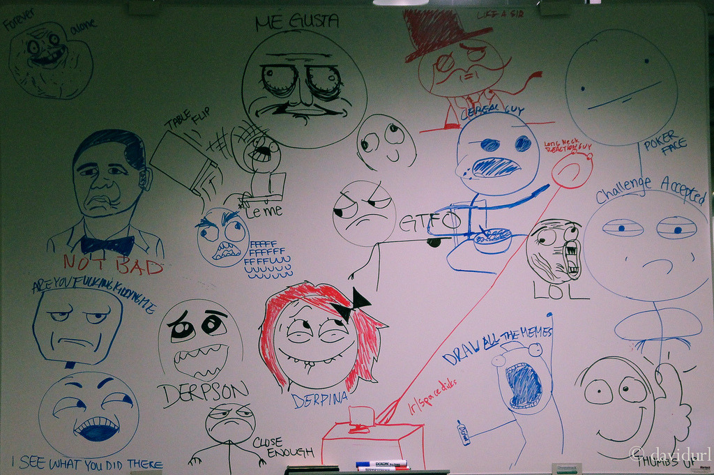 "Internet memes on SCC whiteboard, I had to say ""this is good."" I applaud whoever drew all these."