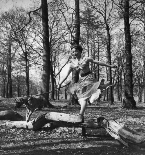 We Take A Girl To Look For Spring Leaping Audrey by Bert Hardy