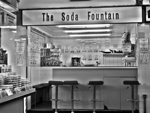Soda Fountain cafe, Castle Market, Sheffield, 14/01/2012.
