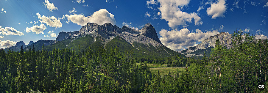 hiking near canmore, alberta continued! 180 degree panorama stitched from 35 individual photos.