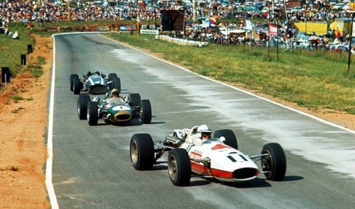 John Surtees, Jack Brabham & Pedro Rodriguez at the 1967 South African Grand Prix