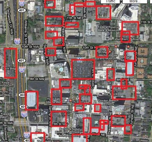 humanscalecities:  Red Squares Indicate Land that is 100% Dedicated to Parking in Midtown Atlanta  紅框區域全是美國亞特蘭大市中心的停車場。