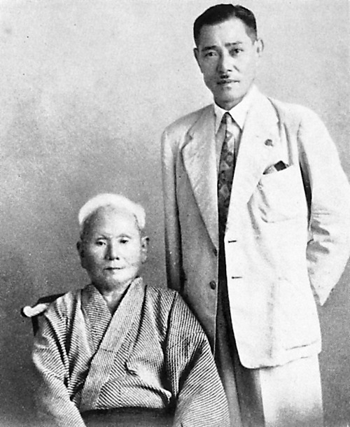 Gichin Funakoshi (founder of Shotokan-ryu) and Tsuyoshi Chitose (founder of Chito-ryu). Tsuyoshi Chitose is the grandson of one of the earliest masters of Okinawan Karate, Sokon Matsumara.