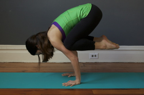 "Crow, Bakasana How-To:1. Squat down from Tadasana with your inner feet a few inches apart. If it isn't possible to keep your heels on the floor, support them on a thickly folded blanket. Separate your knees wider than your hips and lean the torso forward, between the inner thighs. Stretch your arms forward, then bend your elbows, place your hands on the floor and the backs of the upper arms against the shins. 2. Snuggle your inner thighs against the sides of your torso, and your shins into your armpits, and slide the upper arms down as low onto the shins as possible. Lift up onto the balls of your feet and lean forward even more, taking the weight of your torso onto the backs of the upper arms. In Bakasana you consciously attempt to contract your front torso and round your back completely. To help yourself do this, keep your tailbone as close to your heels as possible.3. With an exhalation, lean forward even more onto the backs of your upper arms, to the point where the balls of your feet leave the floor. Now your torso and legs are balanced on the backs of your upper arms. As a beginner at this pose, you might want to stop here, perched securely on the bent arms. 4. But if you are ready to go further, squeeze the legs against the arms, press the inner hands firmly to the floor and (with an inhalation) straighten the elbows. Seen from the side the arms are angled slightly forward relative to the floor. The inner knees should be glued to the outer arms, high up near the armpits. Keep the head in a neutral position with your eyes looking at the floor, or lift the head slightly, without compressing the back of the neck, and look forward. 5. Stay in the pose anywhere from 20 seconds to 1 minute. To release, exhale and slowly lower your feet to the floor, back into a squat.Benefits:This pose is a bit of a challenge but has many benefits! It strengthens your arms, wrists, upper back, & your abs, and stimulates the digestive, respiratory, & nervous systems It will also help you develop focus & concentration, and the feeling of satisfaction you get after doing your very first crow is amazing!(see previous ""healing through yoga"" entries here!)"