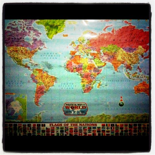 ayeah finally i got a map of the world!:) (Taken with instagram)