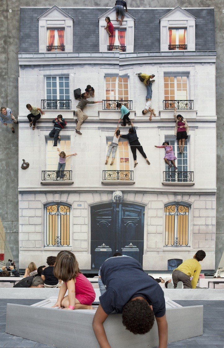 "wildandpeaceful:  Bâtiment (Building) Installation, by Leandro Erlich, gives visitors a chance to ""climb"" a building like a superhero. A large vertical mirror reflects a horizontal building facade. Visitors are encouraged to scale and jump around the facade.  (via My Modern Met)"