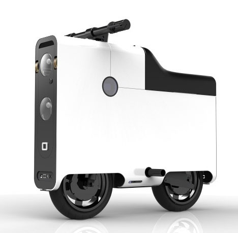 OK, the Boxx scooter is cool. What makes the Boxx so unique is how an often overlooked element of the vehicle—its initial distribution to consumers—has directly informed its physical design. At 40 inches in length, the Boxx's easily-boxed shape can be shipped directly to purchasers via UPS, though its 120-pound weight may vex the man in the brown suit. the all-wheel-drive, electricity-powered Boxx will run for 40 miles on a single charge, with the speed limited to 30 m.p.h. to keep the vehicle in the no-license-required scooter class. On-board storage will reportedly fit two grocery bags and an extra battery that can double the range, though it's unclear if those items will compete for the same space. And a neat, futuristic touch is the onboard laser projector, which generates two 1.5-inch-wide beams on the pavement on either side of the vehicle as a sort of visual safety lane for surrounding vehicles to observe.