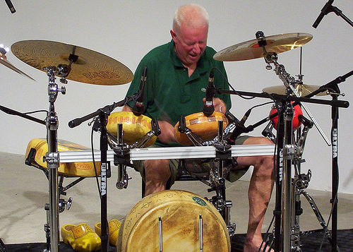 nprfreshair:  Dutch drum maestro Han Bennink plays a drumkit made of cheese. Bennink drums cheese 2 (by squiddity of toronto)