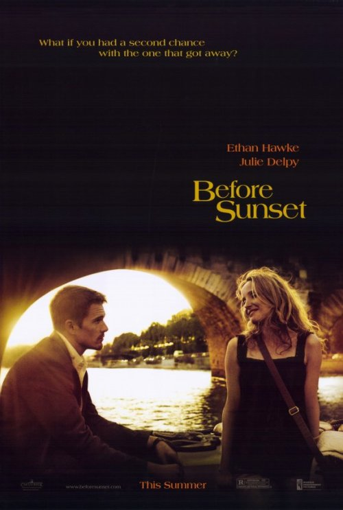 "Title: Before Sunset. Number: Thirty. Director: Richard Linklater Writer:  Richard Linklater, Ethan Hawke, Julie Delpy & Kim Krizan. Genre: Romantic Drama. Released: 2004. Seen on: DVD. Seen Before: Never. Starring: Ethan Hawke & Julie Delpy. Running Time: 76 minutes. Favorite Performance: Ethan Hawke as Jesse. Favorite Line: ""Memories are wonderful things, if you don't have to deal with the past."" Favorite Moment: At the very beginning, when Jessie first sees Celine, she smiles at him, and he falters for a second, as the weight of seeing the woman he loves but never expected to see again shocks him to the core. Thoughts: This film had a lot to measure up to after a brilliant first film. The sequel came together due to the wishes of Linklater, Hawke and Delpy, each desiring to revisit the characters. It is with great pleasure that I can say the sequel definitely holds up to the original. It is different, but very much in the spirit of the original. In this one, the film is shorter, the takes are longer, some numbering 11 minutes in total, with the entire film presented in real time, with the actors needing to learn large pages of dialogue and monologues to succeed. They nail it. Some of the scenes are magnificent, with a car journey involving both becoming emotionally open and vulnerable, detailing how shit their lives have gotten since they left one another, a brilliant scene. Some of the best moments were little character moments. When Jesse first sees Celina again, and is talking to her, his body language screams how much he wants to hug her, but dialogue wise he is afraid, constantly checking her expression to see he hasn't said the wrong thing, his fleeting looks of pain when he lies that he didn't go to meet her, were just brilliant, magnificent portrayal. But it wasn't one sided. In the aforementioned taxi scene, there is one small bit, when Jesse is describing how much he hates his life, and when looking away, Celina reaches for him, wanting to touch him, hold him, but she can't, she's too afraid. This film looks at what happens when you bump into the one who got away. They have both developed and changed from their previous personas but they are broken due to it, and it is fascinating to watch, these two people who loved each other from afar now confronted with these lost loves, and there is some legitimate magic created on screen between the two. Jessie's dream, Celina's waltz, all beautiful moments. This is a sequel that expands on the original in a way that makes it feel fresh. It is rewarding and emotional, but so worth it, with two performances that rival the previous film easily, a more developed, slightly more bitter version, and I loved it all, I loved this film. The only problem, which is more of a compliment, is that I wish it had been ten minutes longer, but it is still fucking awesome. Thumbs Up, 9 out of 10."