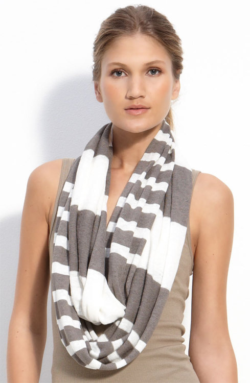 this vince linen, lightweight, striped, infinity scarf is spring-inspired goodness.