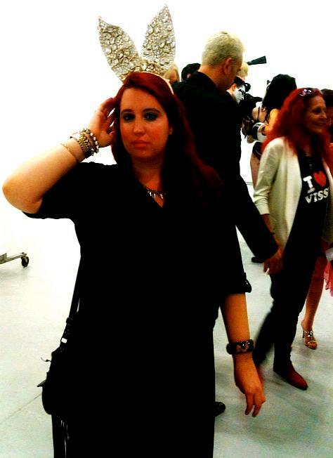 chubby-bunnies:  Being an actual chubby bunny…. During Sept 2011 NY Fashion week, backstage at the Blonds show, wearing Phillipe Blonds' bunny ears after their amazing Playboy bunny inspired show. http://psfashion.tumblr.com/ The Blonds Playboy inspired show was one of the most amazing, crystal-studded affairs I've ever seen. Not like I have a place to wear their creations, but I'd love nothing more than to own an original Blonds piece in my lifetime. (Please note David Blond & Pat Field in the background)
