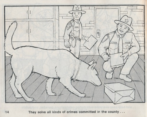 Police propaganda for children from The Friendly Sheriff coloring book, published by the National Child Safety Council, 1991, Jackson, Michigan.