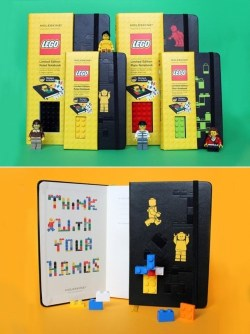 Think with your hands.  LEGO x Moleskine. From designyoutrust.
