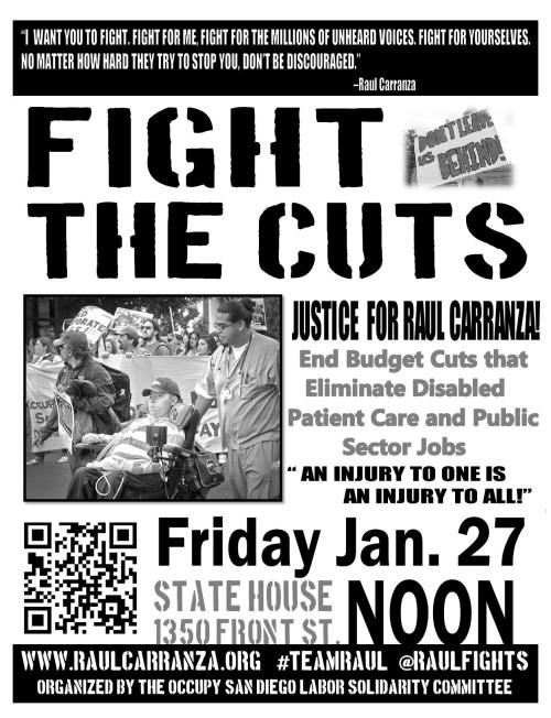 #occupySD today at noon! 1350 Front St. FIGHT THE CUTS! JUSTICE FOR RAUL!