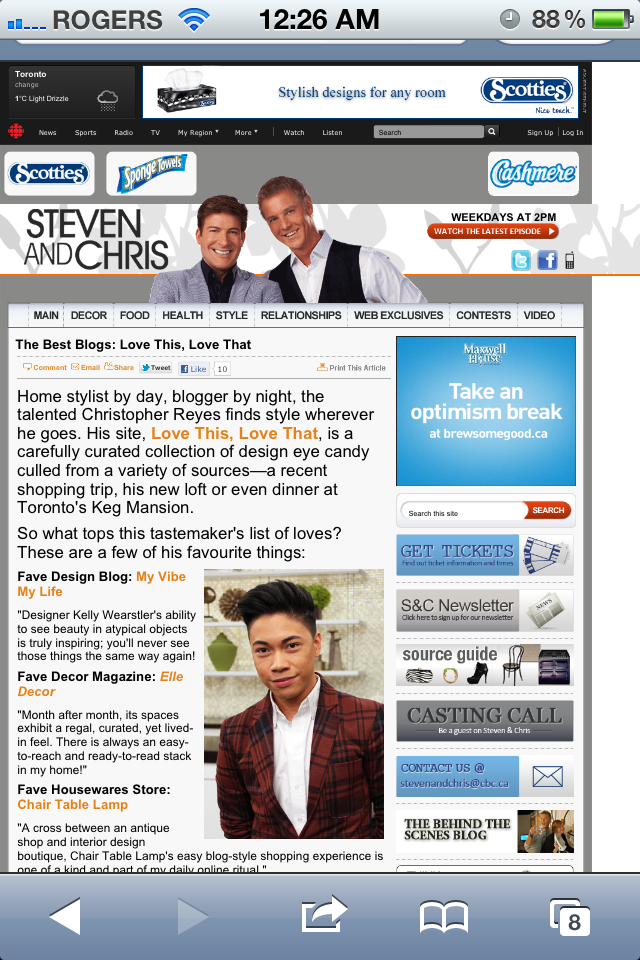 "Get in the know! …""my favorite things"" on the Steven and Chris site…  Http://www.cbc.ca/stevenandchris/2012/01/best-blogs-love-this-love-that.html"