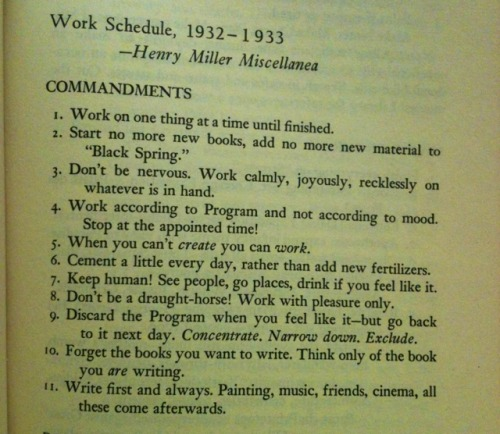 Henry Miller's Eleven Commandments