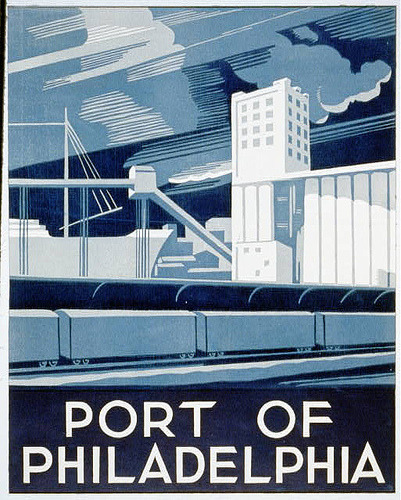 Happy Weekend! See you Monday, Internet.   WPA poster: port of Philadelphia (by BanjoHead)