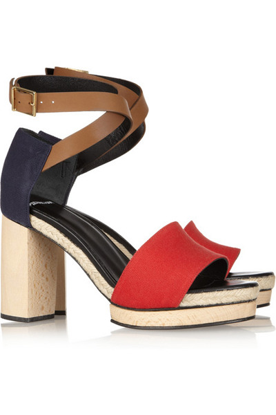 We're talking shopping splurges over on STF. I'll take these, please. Pierre Hardy Leather & Canvas Sandal, $595 at Net-A-Porter