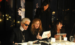 Anja Rubik, Azealia Banks, and more celebrate Karl Lagerfeld's new collections.