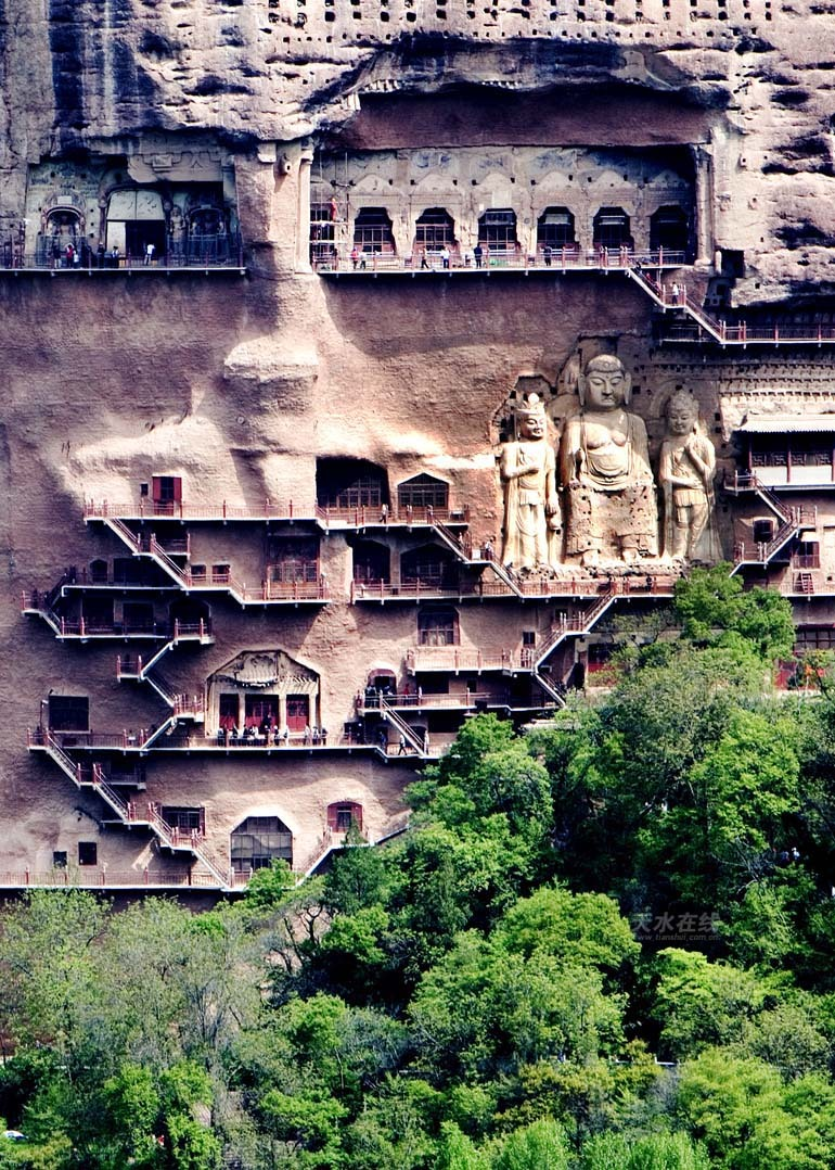 Maijishan Grottoes in Tianshui, Gansu Province, northwest China.