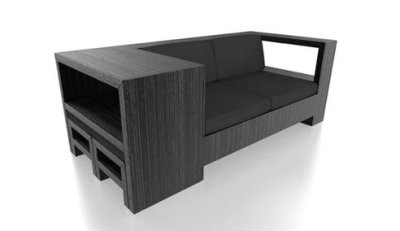 "Pallet repurposing, continued: A stylish sofa made from wooden pallets. ""Reused wooden pallets are popping up in designs everywhere nowadays, but there's debate as to whether they're ""palletable"" or not. It's a tricky subject, but with this clean-looking two-seater, French firm Aparte has a simple solution: paint it black and voilà, recycled chic."" (via TreeHugger)"