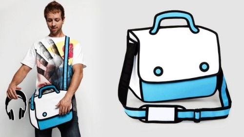 "thedailywhat:  Hand-Drawn Bags of the Day: ""Trick your eyes! Twist your view!"" exclaim Taipei-based designers Chay Su and Rika Lin, AKA JumpFromPaper. Their collection of clutches, satchels, and other carrying accessories are all designed to look as if they've been brought to life by a magical crayon set. Pricing and other info here. [gizmodo.]"