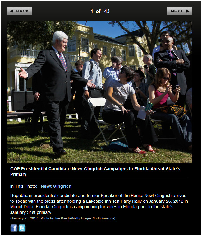 Bag's Take-Away:  Newt tries for a second date, gets a little more scrutiny.   ————— Topping LIFE.com's 2011 list of Best Photo Blogs, follow us at: BagNewsNotes; BAG Twitter; BAG Facebook; Bag by Email.