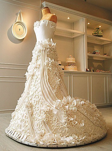 wedding cake shaped like a wedding dress