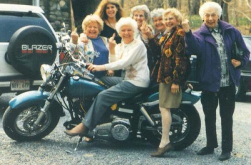 Rebellious Grannies Motorcycle Club   They go around from town to town hassling grandsons who don't send thank you cards.