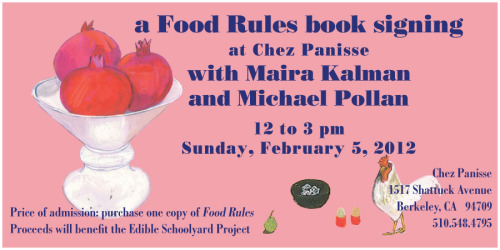 We forgot about the superbowl! Maira + Michael signing @chezpanisse now a little earlier 12-3pm Feb 5.
