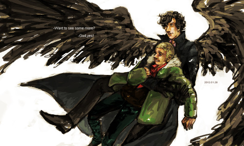 ishipjohnlock247:  xxxxxx6x:  I just want to make John happy. And I want to draw Sherlock with wings too.  awesome!!