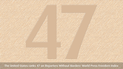 The US ranks 47 on Reporters Without Borders' World Press Freedom Index Coming in at the top two spots are Finland and Norway. Coming just before the US: Tawain, Comoros and South Korea. Just after: Argentina, Romania and Latvia. Via Reporters Without Borders:  The United States (47th) also owed its fall of 27 places to the many arrests of journalist covering Occupy Wall Street protests.