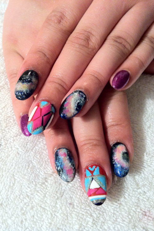 nailsbyregina:  Galaxy and Indian-esque tribals….