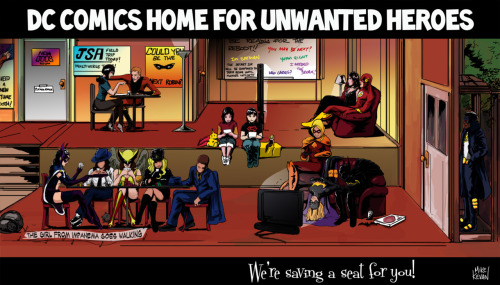 thehappysorceress:  thehappysorceress:  DC COMICS HOME FOR UNWANTED HEROES my latest commission from Mike Kevan I'll be honest: my emotions regarding the DCnU hover in that space between anger & sadness, with occasional trips to frustrated. I could go on & on about my feelings but I'll stick with my preferred method of letting Mike translate those thoughts into images (something he does so well). (embiggen for all the little details!)  Felt like re-blogging myself.