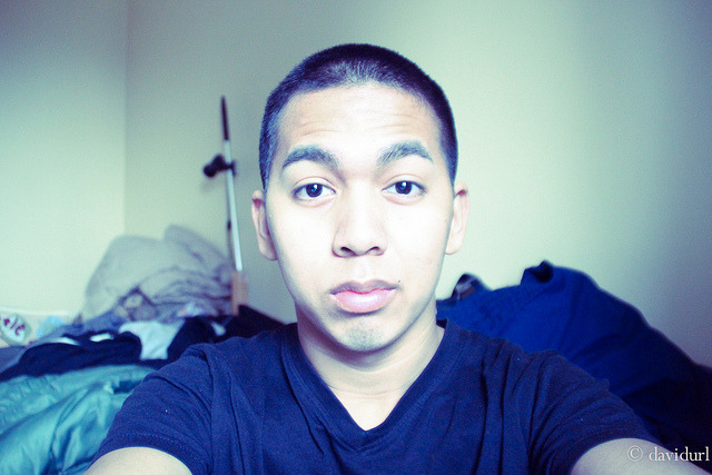 Day 22 January 22, 2012. Self portrait, I got a buzz cut, something new and old