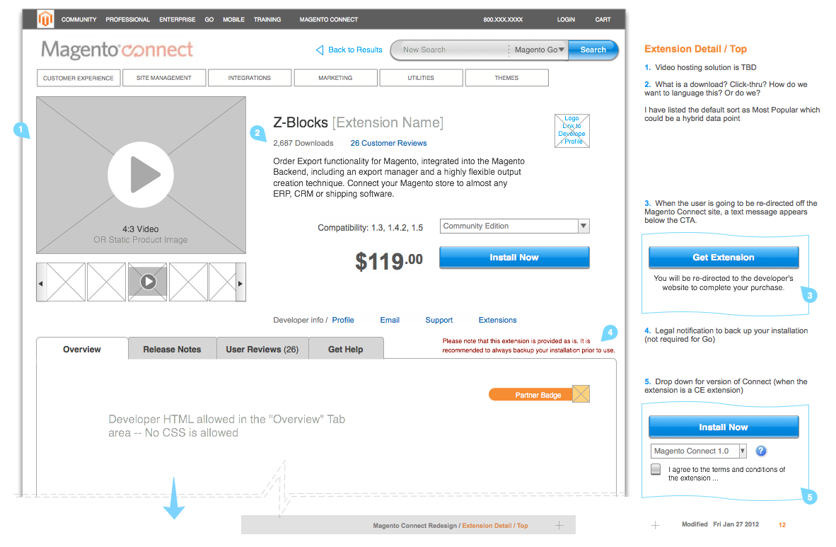 Wireframe and interaction model for an extension detail page on Magento Connect