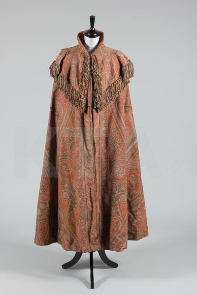 Cape, ca 1890 (textile made in 1860's, originally a piano shawl) Bid here