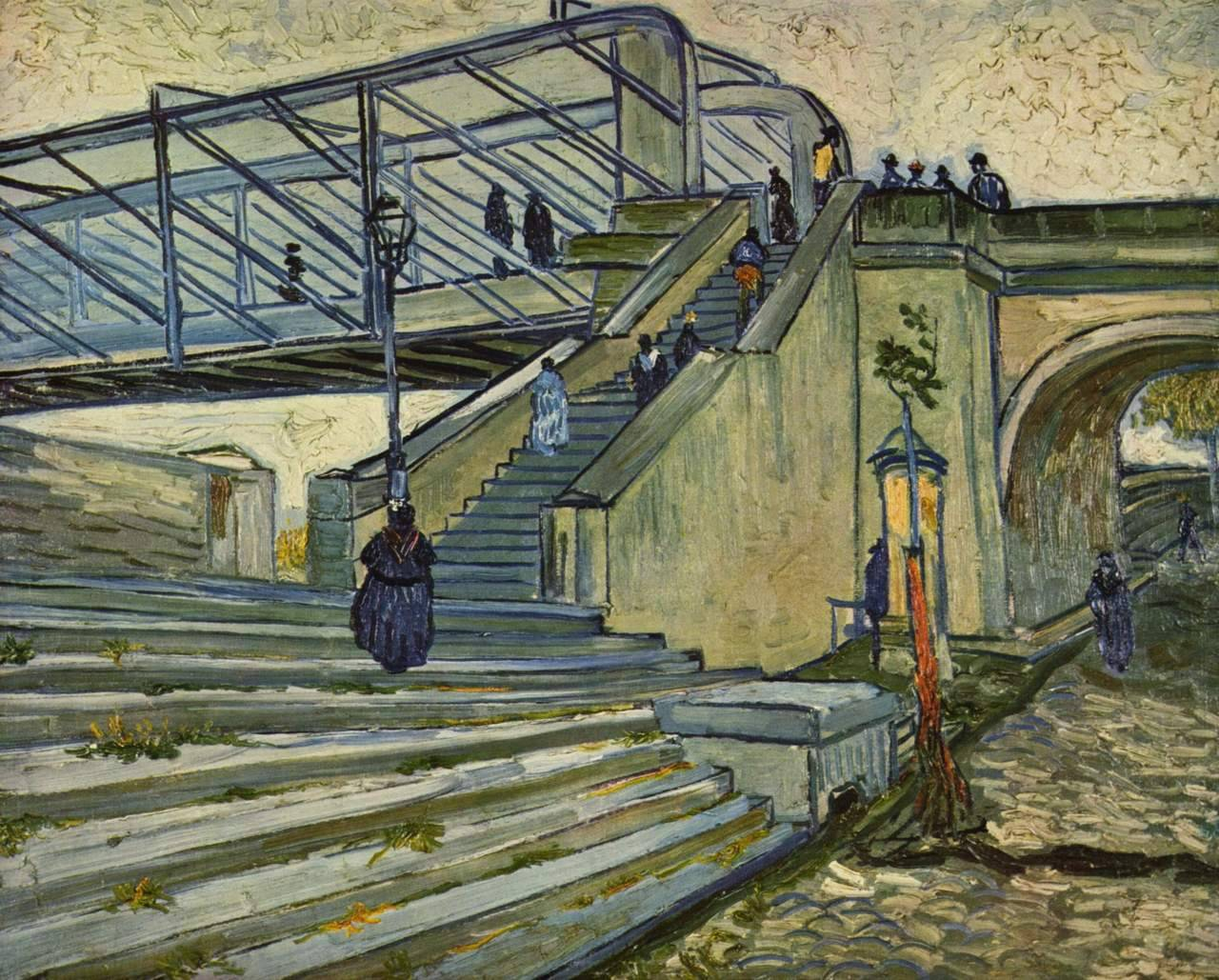 peira:  Vincent van Gogh:  Le pont de Trinquetaille (1880) 65 x 81 cm, Painted in Arles, June-July 1888