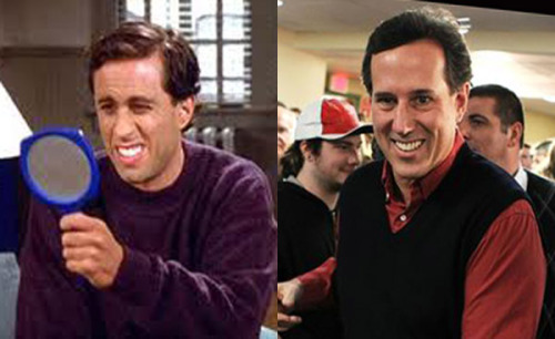 "mindbabies:  eltigrechico:   Seintorum. I've always thought Rick Santorum kinda looked like ""Bad Haircut Jerry Seinfeld.""    O_O'"