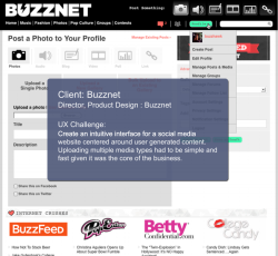UX challenge for the Buzznet account page