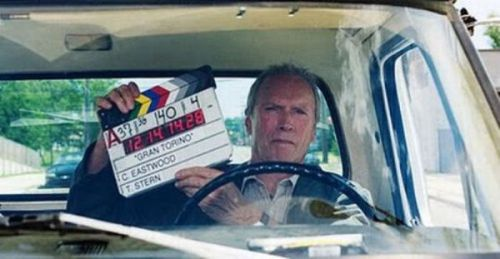 cocainesquirrel:  Here is Clint Eastwood directing himself as the lead role in Gran Torino. He also produced the film and wrote part of the soundtrack. What a badass.