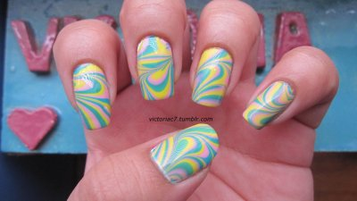 You know I had to do a water marble with these Nicki Minaj polishes! Colors used:  OPI - Did It On 'Em, Pink Friday, Fly