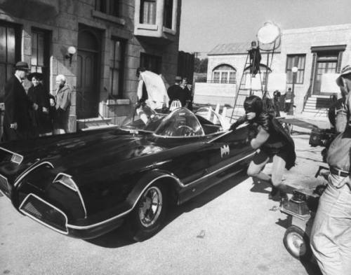 On the Batman television series set, 1960s
