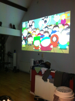 We have a projector instead of a tv. It's fucking sweet!